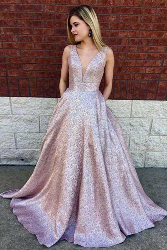 Simple A-Line Deep V-Neck Long Lilac Printed Satin Prom Dresses with Pockets PFP0086