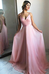 Flowing A-Line V-Neck Backless Pink Chiffon Long Prom Party Dress PFP0093