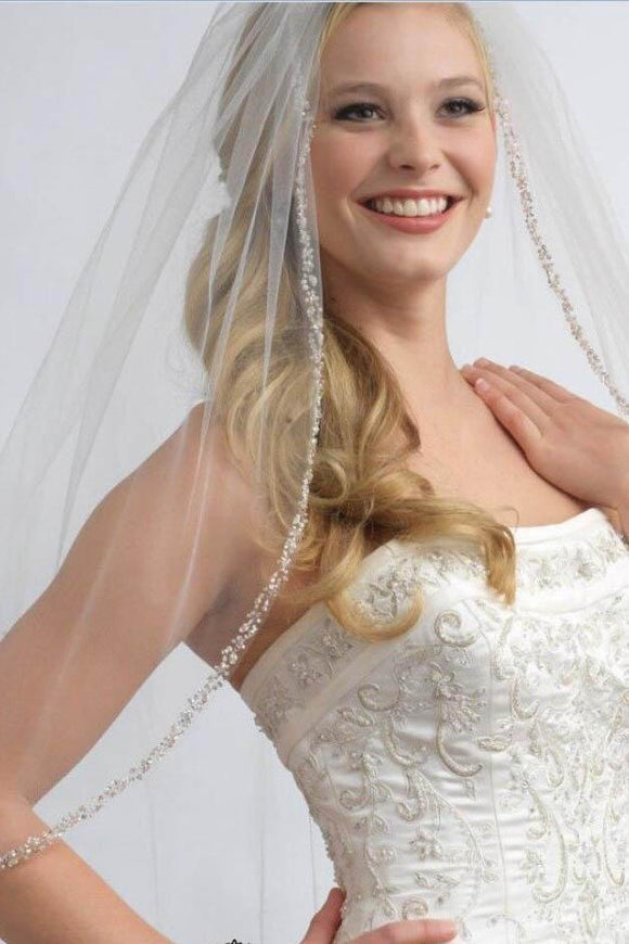 One Layer Fingertip Beading Edge Wedding Veil with Crystals and Sequins