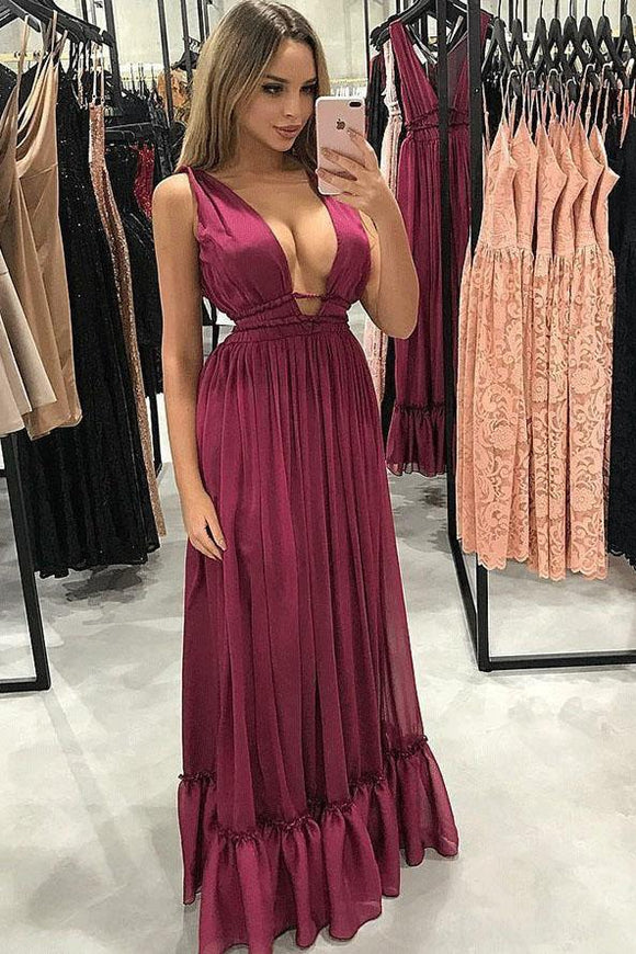 Sexy A-Line V-Neck Pleated Burgundy Chiffon Prom Party Dress PFP0109