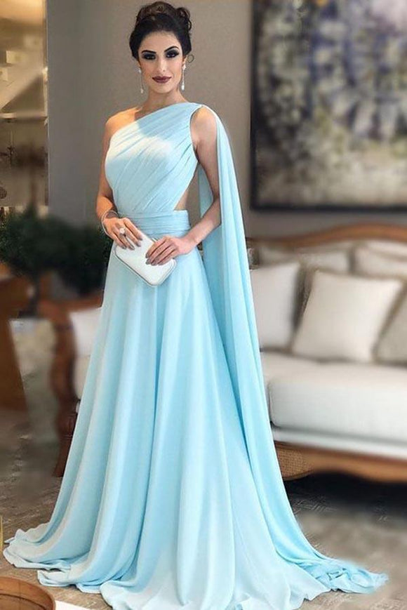 Light Blue One Shoulder Chiffon Formal Prom Gown, Simple Bridesmaid Dresses