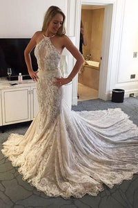New Arrival Elegant Halter Mermaid Lace Sleeveless Wedding Dress with Sash PFW0058