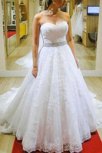 Sweetheart Strapless A-line Beading Belt Lace Wedding Dress Bridal Gown PFW0060