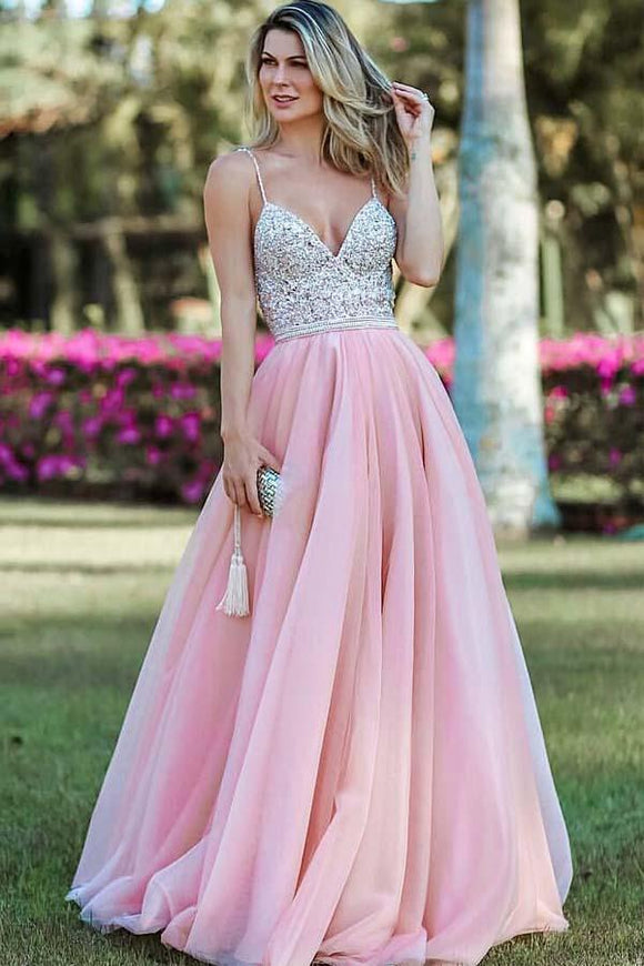 Pink A Line Spaghetti Strap Prom Dresses, Backless Beaded Evening Dress