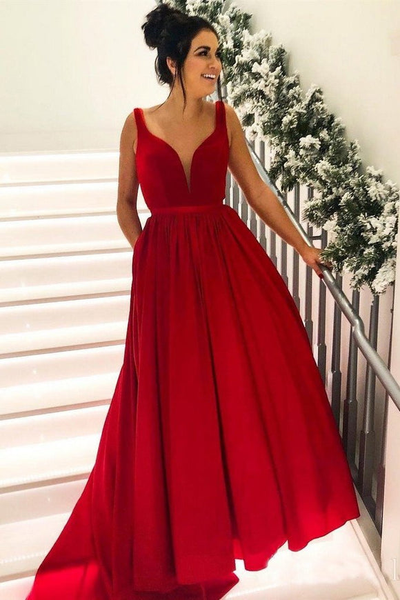 Simple Broad Straps Red Long Prom Dresses with Pocket V Neck Cheap Formal Dress