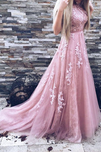 A-Line Court Train Backless Pink Tulle Prom Dress with Lace Appliques PFP0153