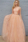 Princess A Line Two Piece Orange Long Lace Prom Dress PFP0194
