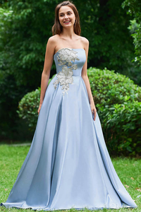 A Line Strapless Sky Blue Satin Long Prom Dresses With Appliques PFP0195