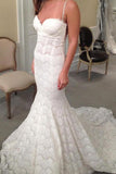 Mermaid Sweetheart Spaghetti Straps Lace Backless Court Train Wedding Dress PFW0098