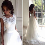 White Lace Sleeveless Wedding Dresses,Sexy Tulle A Line Long Bridal Gowns PFW0001