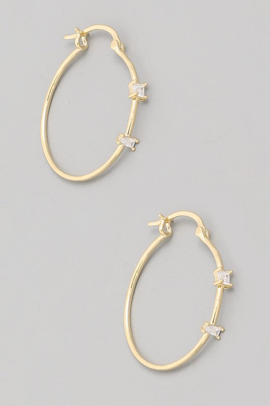 The Daiane Two Gem Hoop Earrings