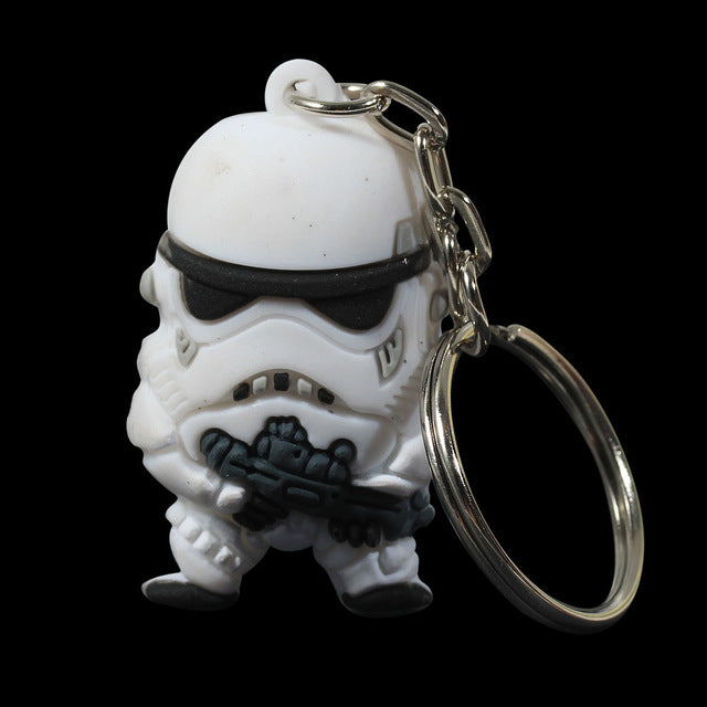 Doreen Box New Star War Silver Tone Soldier Warrior Pendant Round Iron Key Chains White Black 1 PC