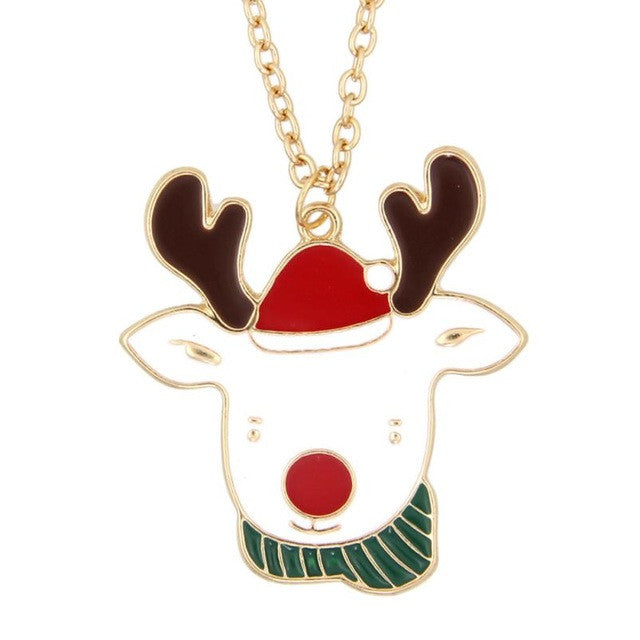 Gold Red Crystal Santa Claus Reindeer Christmas Pendant Necklace Chain Lovely Christmas elk Pendant Necklace sweater chain #45
