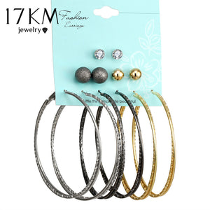17KM Vintage Oversize Twist Earrings Set For Women Fashion Punk Beads Crystal Heart Stud Earrings Party Jewelry 6 pair/lot