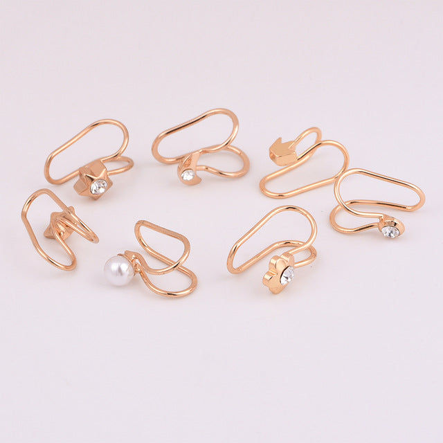 New fashion moon star Crown clip earring set mix design cute jewelry gifts for women girl E0088