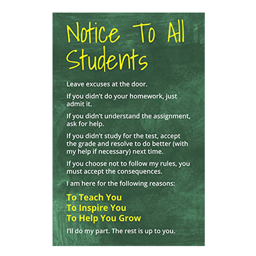 New Notice To All Students Classroom Reading and Writing Poster 30*45 Classroom Children Room Decor Drop Shipping 70913