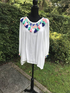 White tassel detail top