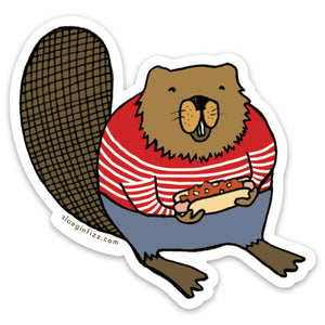 Beaver with a Coney Dog Vinyl Sticker