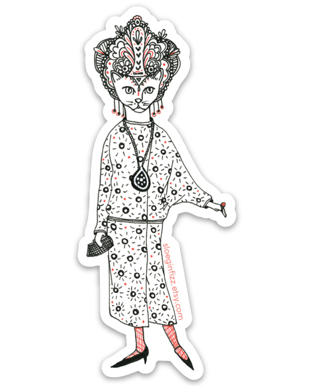 Glamour Kitty Cat Lady Vinyl Sticker