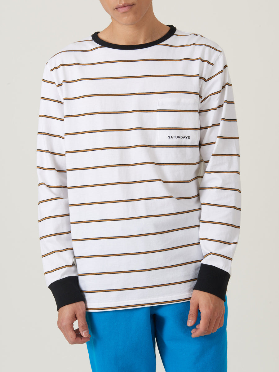 saturdays-nyc-White-James-Stripe-L/S-Tee-on-body
