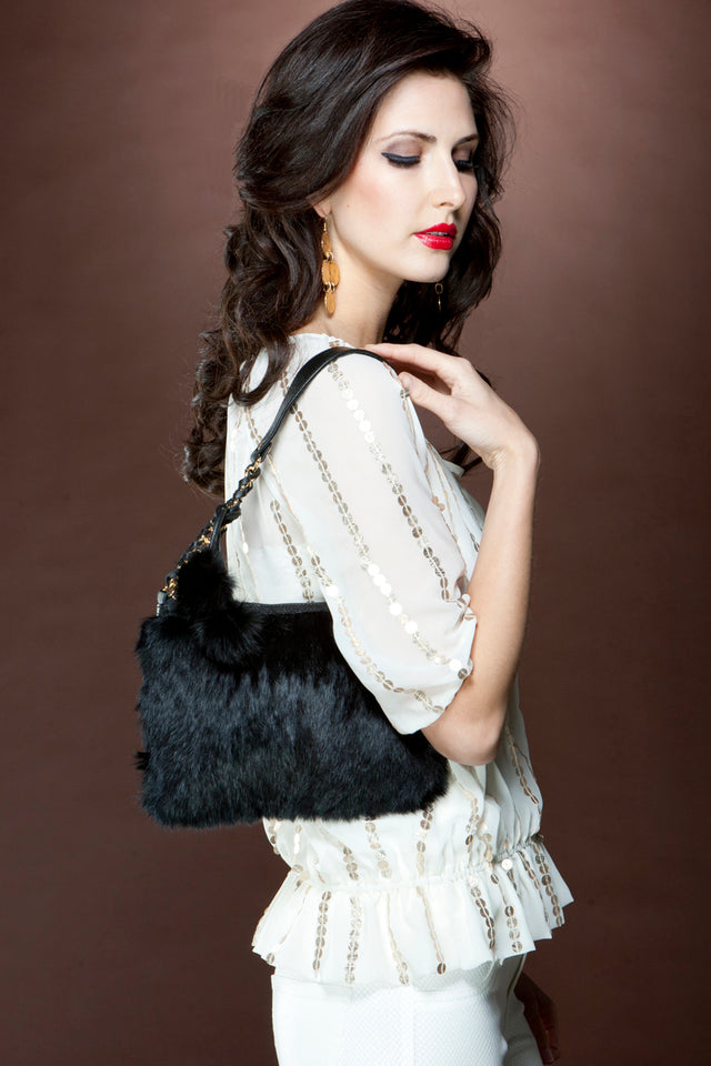 Black Rabbit Evening Fur Handbag
