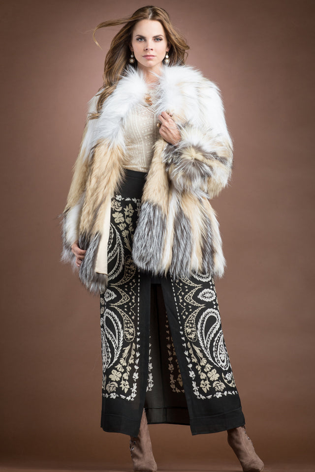Arctic Marble, Dyed Beige & Natural Silver Fox on Jersey- Belted Fur Jacket