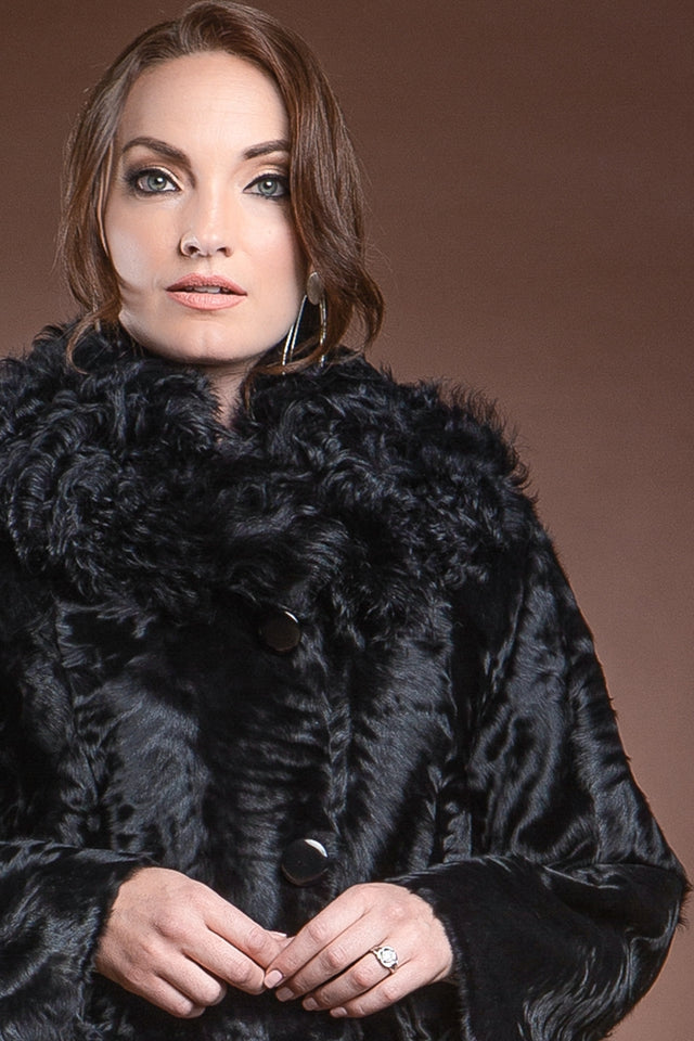 Moiré  Lamb Mid-Length Fur Coat - 2 Tone Curly Lamb Notch Collar