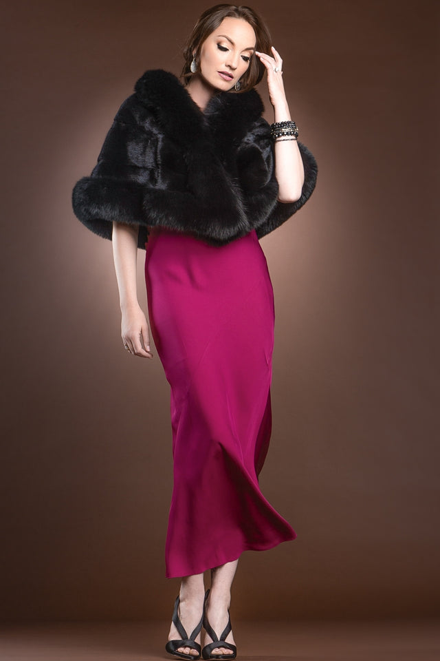 Traditional Horizontal Mink - Fox Fur Cape