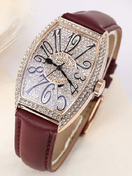 Vintage Wine Barrel Shape Full Rhinestone Women's Watch