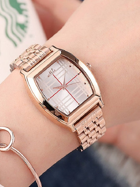 Fashion Barrel-shaped Leather&Steel Strap Women's Watch