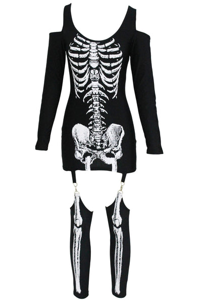 X-rayed Halloween Off-shoulder Skeleton Dress Costume
