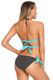 Mint Wrap Front Halter Bikini Tie Side Bottom Swimsuit
