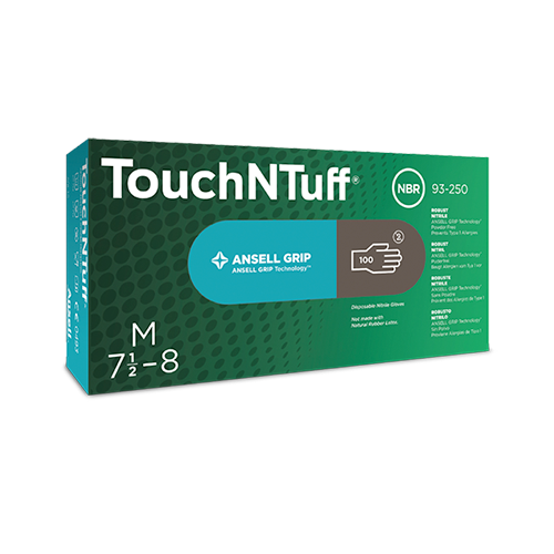 Ansell 93-250 TouchNTuff Nitrile Gloves with Ansell Grip Powder Free