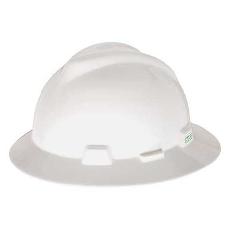 MSA 454733 V-Gard White Full Brim Hard Hat Staz-On Pinlock
