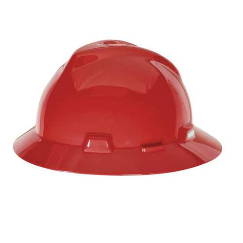 MSA 454736 V-Gard Red Full Brim Hard Hat Staz-On Pinlock