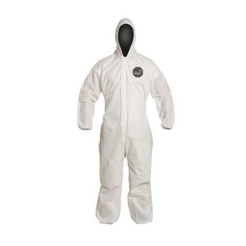 Dupont ProShield 10 PB127SWH White Disposable Coveralls Hooded Elastic Wrists and Ankles Case of 25