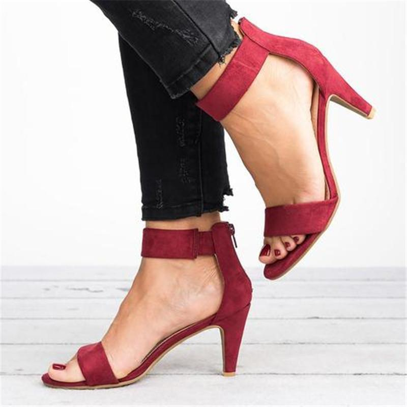 High Heel Zipper Flocking Sandals