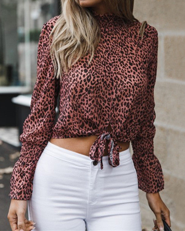 Women's Fashion Long Sleeve Printed Blouses Tops