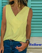 Plus Size Causal Solid Color Sleeveless V Neck Shirts Tops
