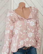 Crochet Lace Patchwork Floral Casual Blouse For Women