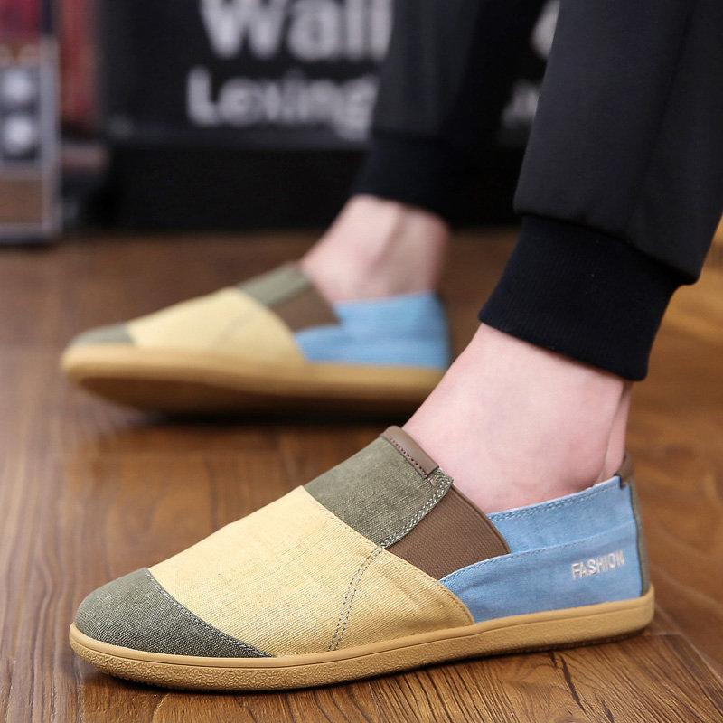 Men Canvas Color Blocking Soft Sole Slip On Casual Shoes