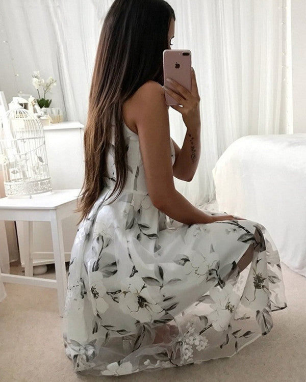 Fashion Floral Printed Sexy Backless Dress