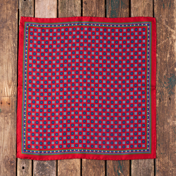 Rust silk Macclesfield pocket square