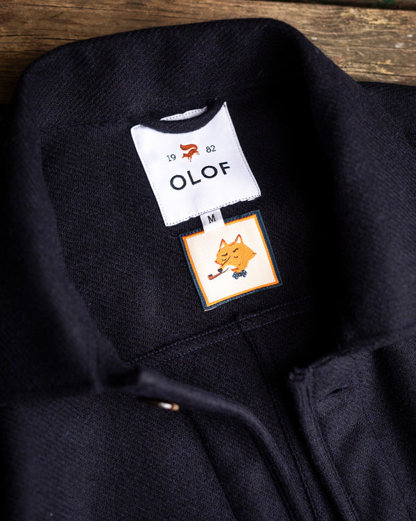 Overshirt in navy British wool tweed