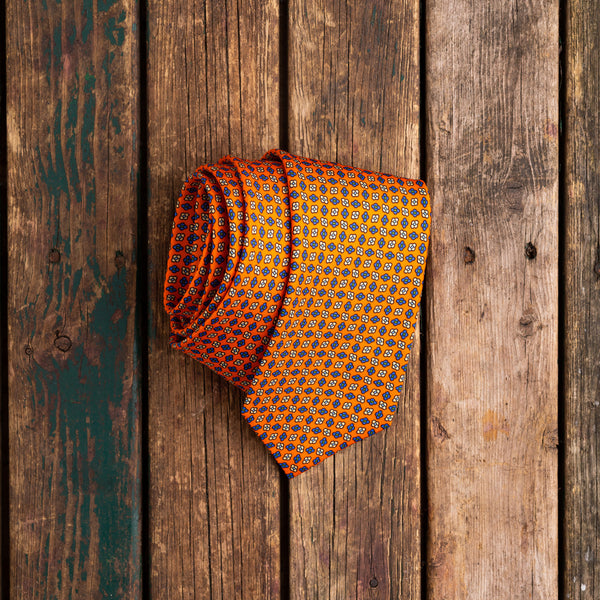 Orange printed Macclesfield silk tie