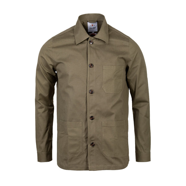 Overshirt in green British cotton canvas