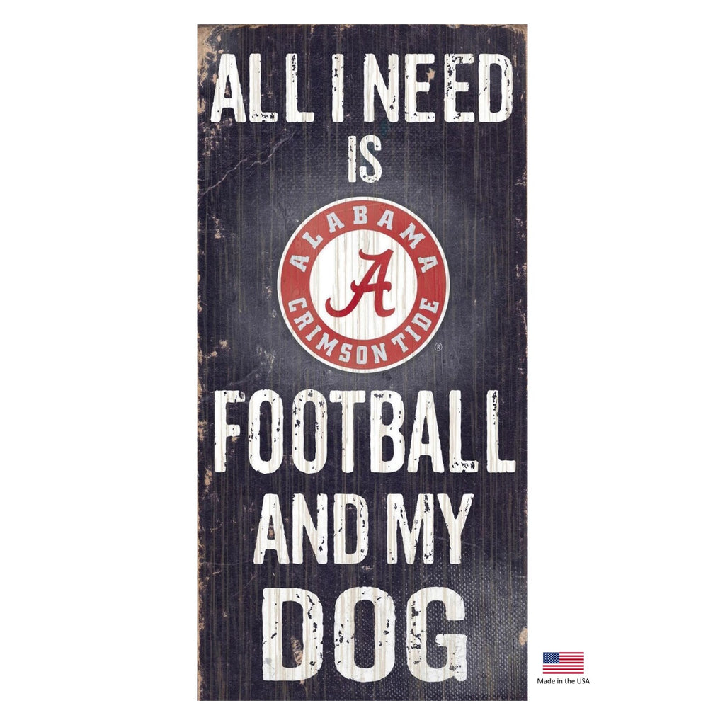 Alabama Crimson Tide Distressed Football And My Dog Sign - staygoldendoodle.com