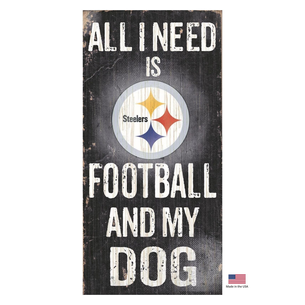 Pittsburgh Steelers Distressed Football And My Dog Sign - staygoldendoodle.com