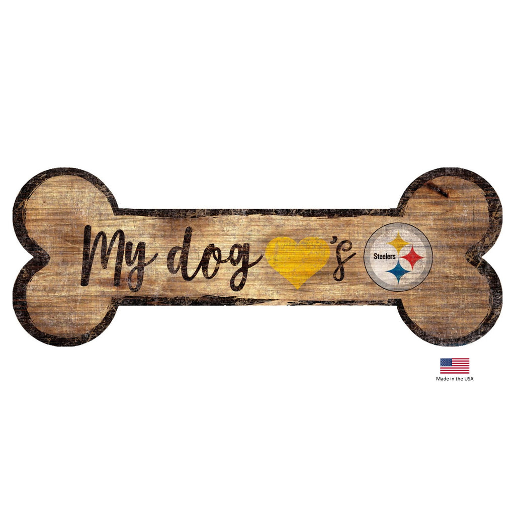 Pittsburgh Steelers Distressed Dog Bone Wooden Sign - staygoldendoodle.com