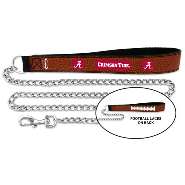 Alabama Crimson Tide Football Leather and Chain Leash - staygoldendoodle.com